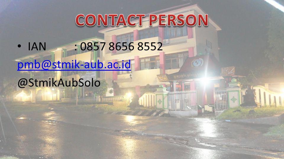 IAN: 0857 8656 8552 pmb@stmik-aub.ac.id @StmikAubSolo