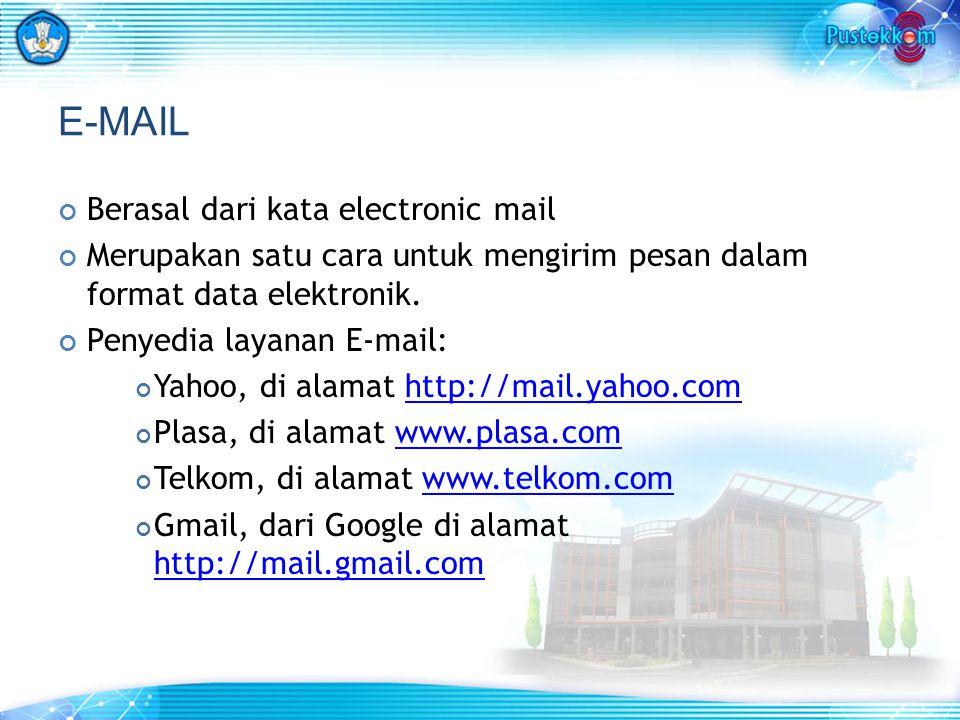 E-MAIL Berasal dari kata electronic mail Merupakan satu cara untuk mengirim pesan dalam format data elektronik. Penyedia layanan E-mail: Yahoo, di ala
