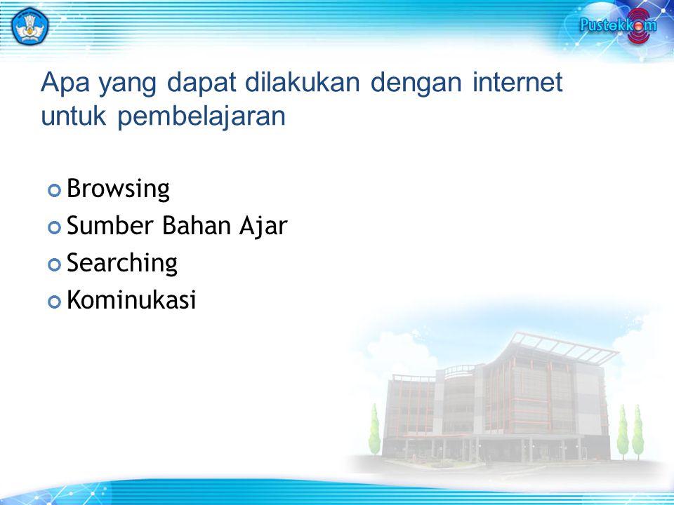 Apa yang dapat dilakukan dengan internet untuk pembelajaran Browsing Sumber Bahan Ajar Searching Kominukasi