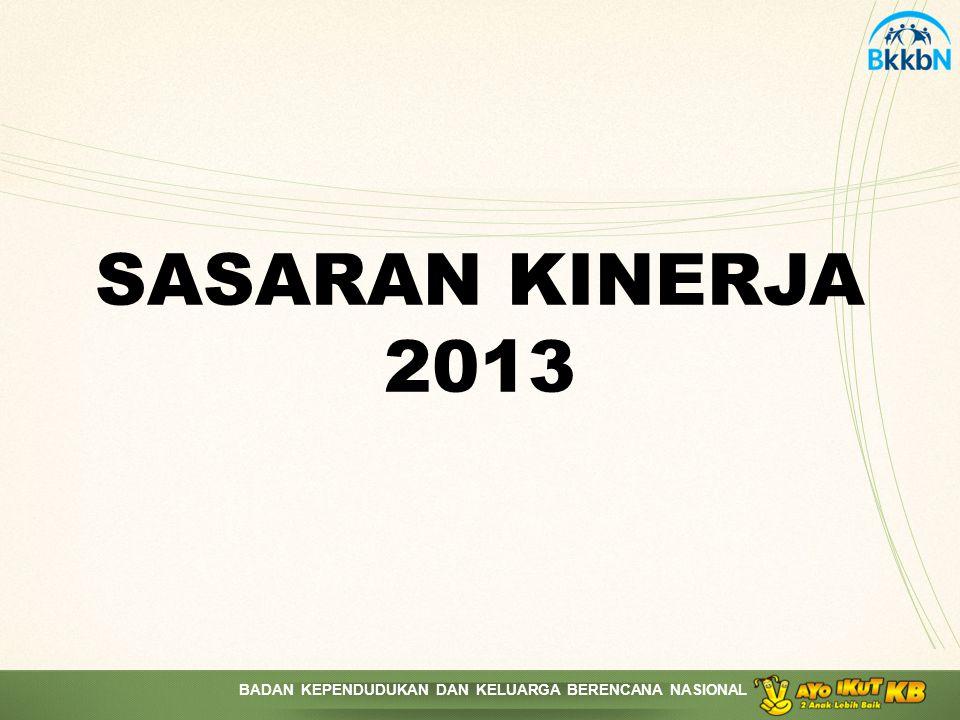 BADAN KEPENDUDUKAN DAN KELUARGA BERENCANA NASIONAL SASARAN KINERJA 2013
