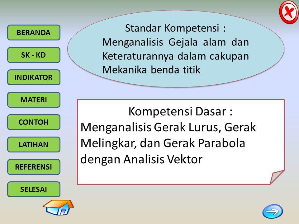 BERANDA SK - KD INDIKATOR MATERI CONTOH LATIHAN REFERENSI SELESAI Standar Kompetensi : Menganalisis Gejala alam dan Keteraturannya dalam cakupan Mekanika benda titik Standar Kompetensi : Menganalisis Gejala alam dan Keteraturannya dalam cakupan Mekanika benda titik Kompetensi Dasar : Menganalisis Gerak Lurus, Gerak Melingkar, dan Gerak Parabola dengan Analisis Vektor