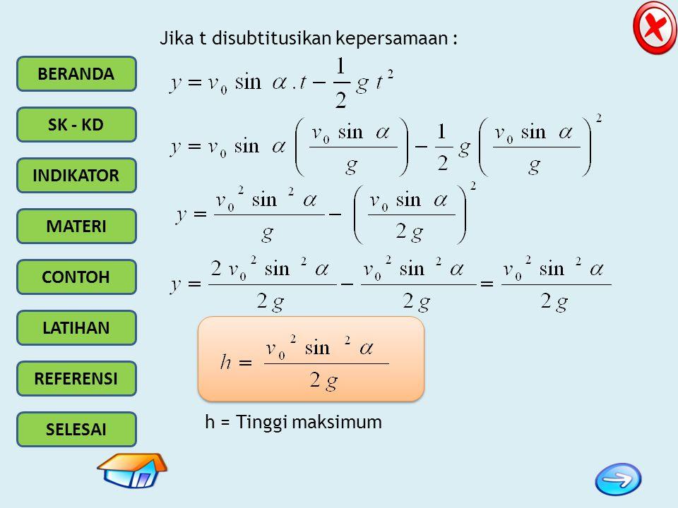 BERANDA SK - KD INDIKATOR MATERI CONTOH LATIHAN REFERENSI SELESAI Jika t disubtitusikan kepersamaan : h = Tinggi maksimum