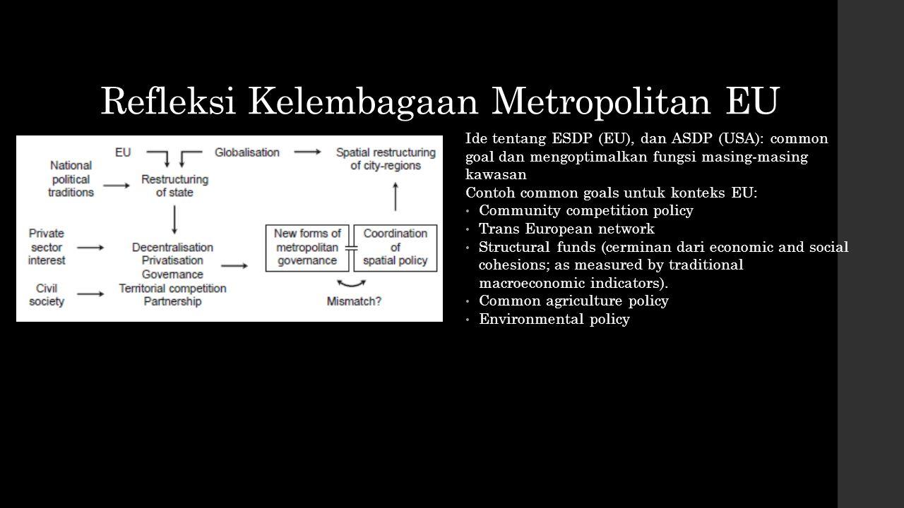 Refleksi Kelembagaan Metropolitan EU Ide tentang ESDP (EU), dan ASDP (USA): common goal dan mengoptimalkan fungsi masing-masing kawasan Contoh common