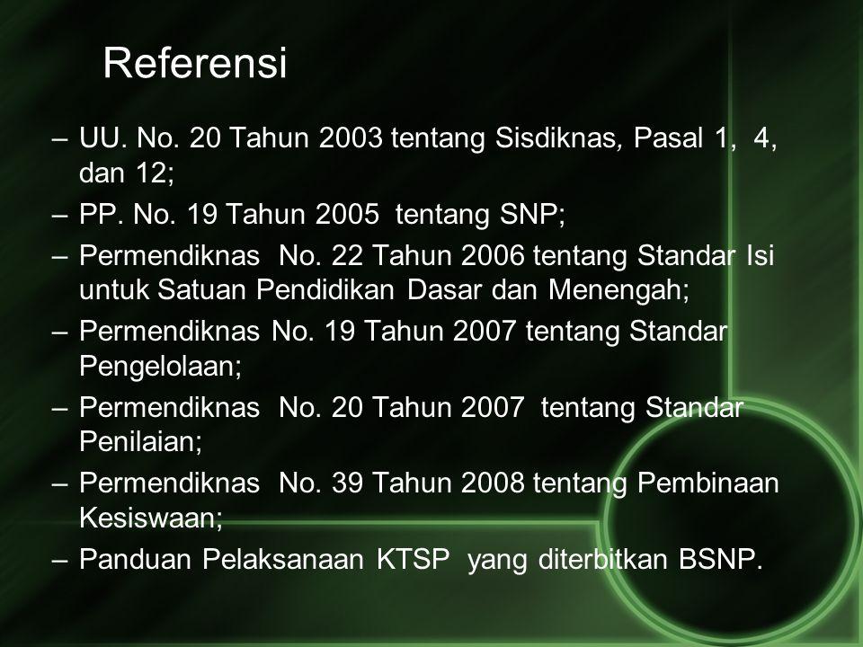 Referensi –UU. No. 20 Tahun 2003 tentang Sisdiknas, Pasal 1, 4, dan 12; –PP. No. 19 Tahun 2005 tentang SNP; –Permendiknas No. 22 Tahun 2006 tentang St
