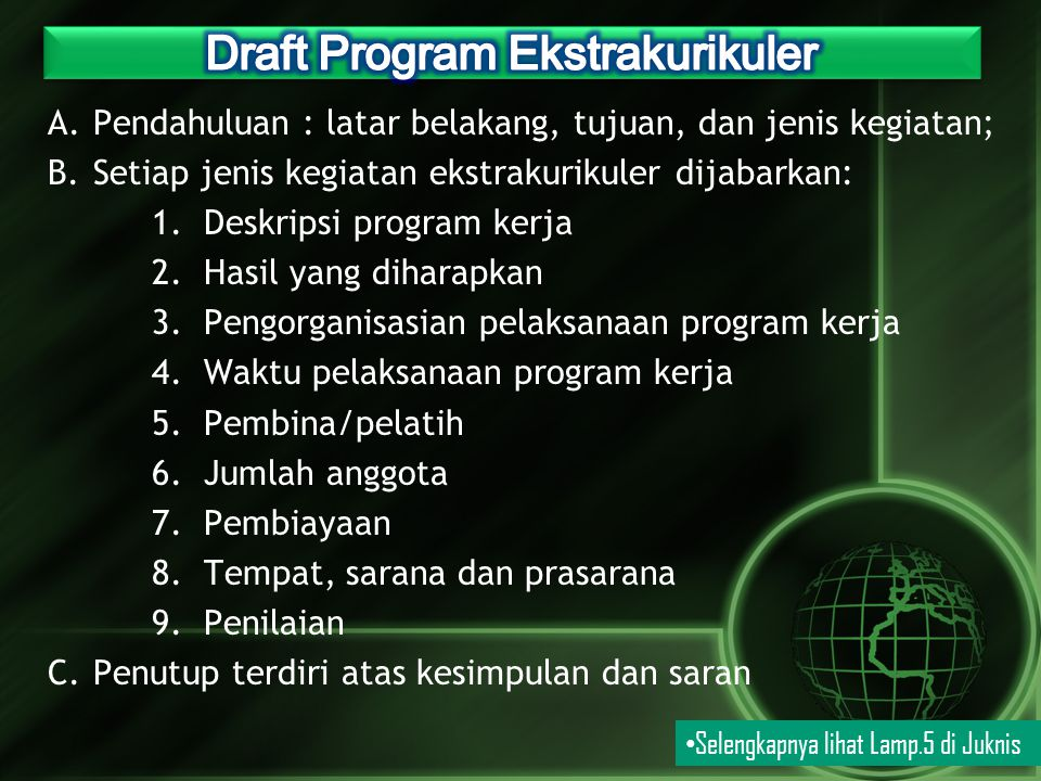 A.Pendahuluan : latar belakang, tujuan, dan jenis kegiatan; B.Setiap jenis kegiatan ekstrakurikuler dijabarkan: 1.Deskripsi program kerja 2.Hasil yang