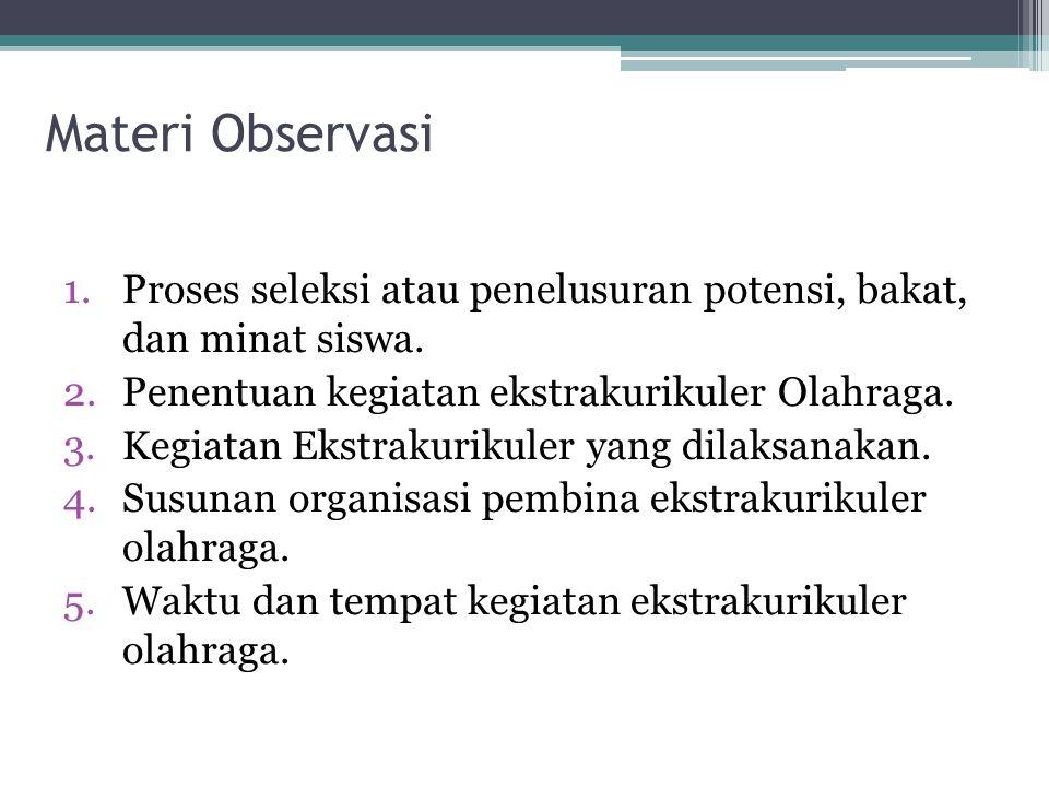 Materi Observasi 1.Proses seleksi atau penelusuran potensi, bakat, dan minat siswa.
