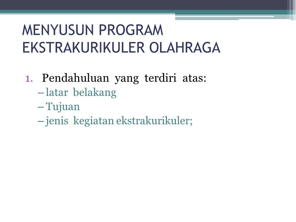 MENYUSUN PROGRAM EKSTRAKURIKULER OLAHRAGA 1.Pendahuluan yang terdiri atas: – latar belakang – Tujuan – jenis kegiatan ekstrakurikuler;
