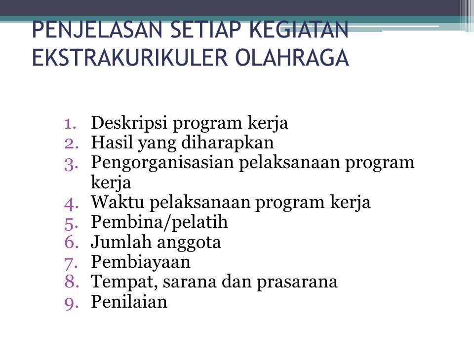 PENJELASAN SETIAP KEGIATAN EKSTRAKURIKULER OLAHRAGA 1.Deskripsi program kerja 2.Hasil yang diharapkan 3.Pengorganisasian pelaksanaan program kerja 4.Waktu pelaksanaan program kerja 5.Pembina/pelatih 6.Jumlah anggota 7.Pembiayaan 8.Tempat, sarana dan prasarana 9.Penilaian