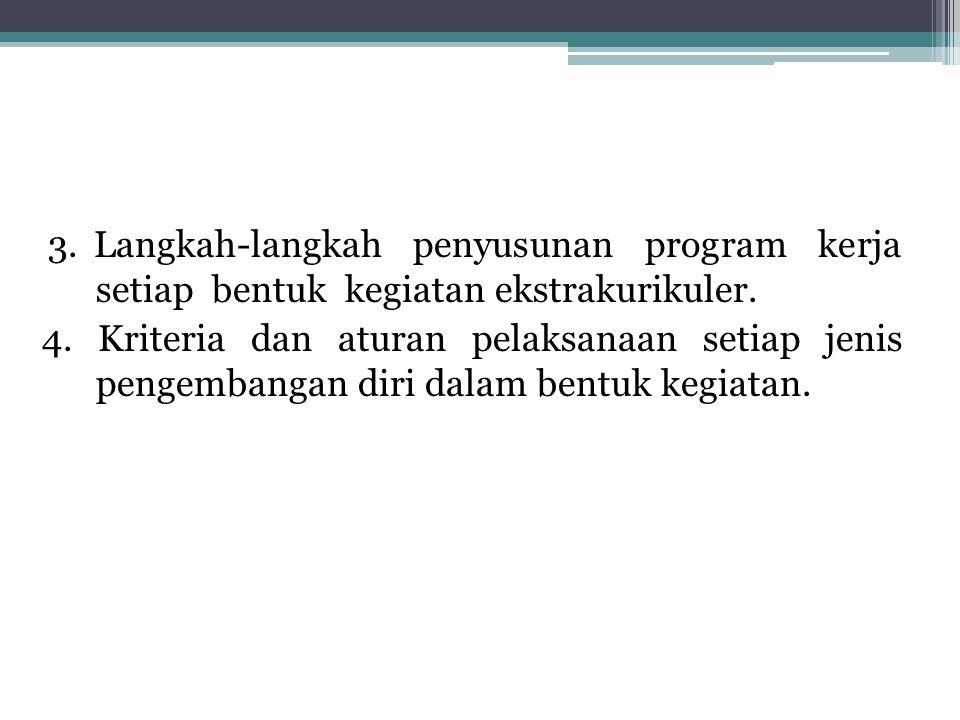 3.Langkah-langkah penyusunan program kerja setiap bentuk kegiatan ekstrakurikuler.