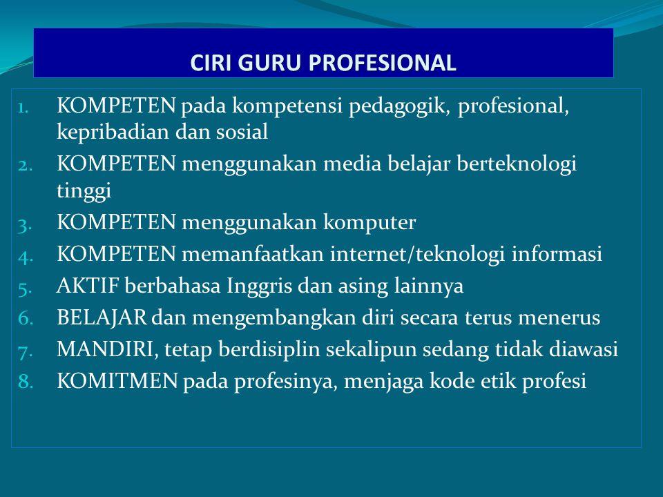 CIRI GURU PROFESIONAL 1.KOMPETEN pada kompetensi pedagogik, profesional, kepribadian dan sosial 2.