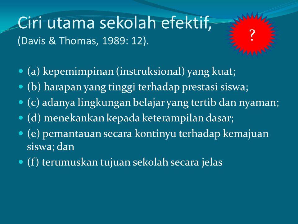 Ciri utama sekolah efektif, (Davis & Thomas, 1989: 12).