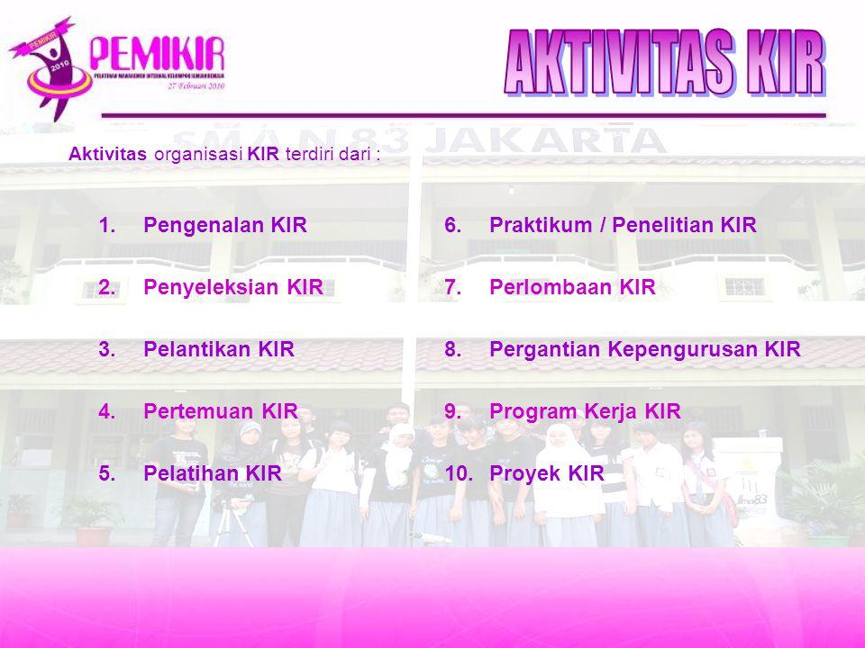 Aktivitas organisasi KIR terdiri dari : 1.Pengenalan KIR 2.Penyeleksian KIR 3.Pelantikan KIR 4.Pertemuan KIR 5.Pelatihan KIR 6.Praktikum / Penelitian