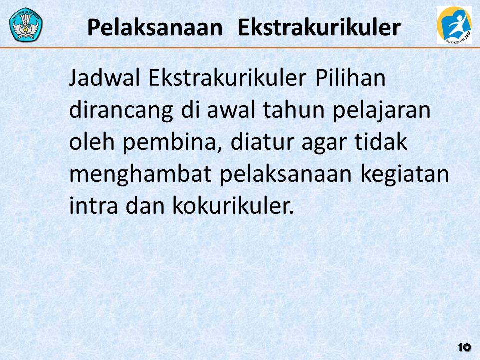 Pelaksanaan Ekstrakurikuler Jadwal Ekstrakurikuler Pilihan dirancang di awal tahun pelajaran oleh pembina, diatur agar tidak menghambat pelaksanaan ke