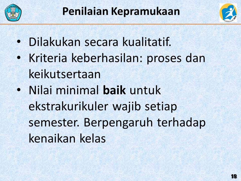 Penilaian Kepramukaan 18 Dilakukan secara kualitatif. Kriteria keberhasilan: proses dan keikutsertaan Nilai minimal baik untuk ekstrakurikuler wajib s