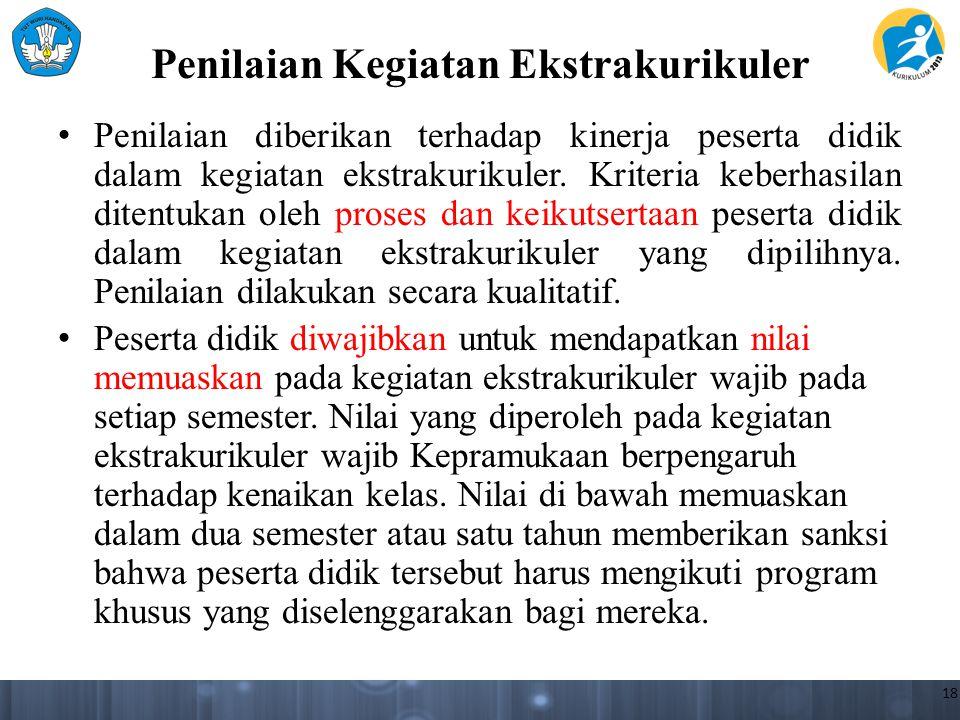 Penilaian Kegiatan Ekstrakurikuler Penilaian diberikan terhadap kinerja peserta didik dalam kegiatan ekstrakurikuler. Kriteria keberhasilan ditentukan