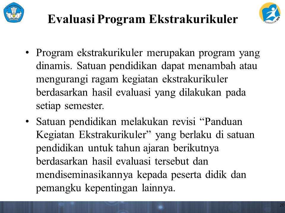 Evaluasi Program Ekstrakurikuler Program ekstrakurikuler merupakan program yang dinamis. Satuan pendidikan dapat menambah atau mengurangi ragam kegiat
