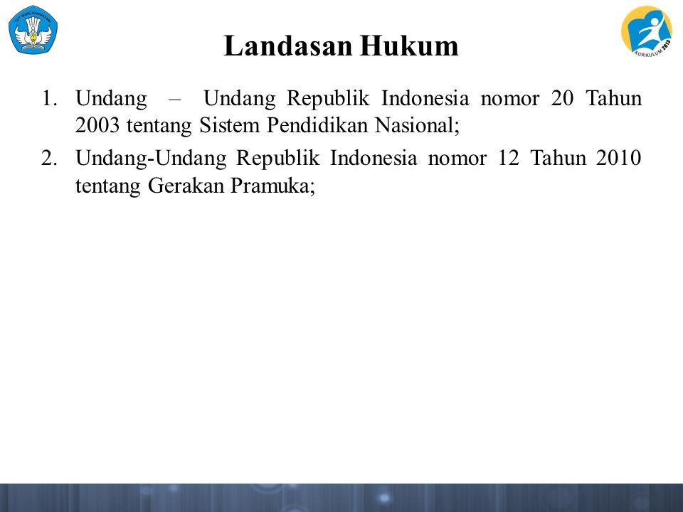 Landasan Hukum 1.Undang – Undang Republik Indonesia nomor 20 Tahun 2003 tentang Sistem Pendidikan Nasional; 2.Undang-Undang Republik Indonesia nomor 1