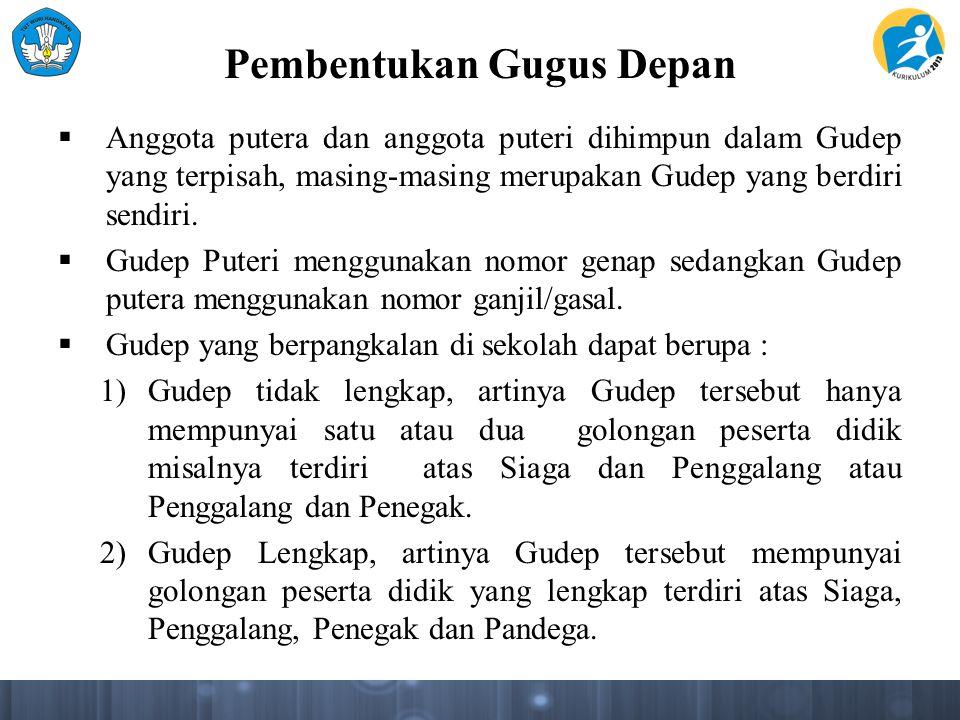 Pembentukan Gugus Depan  Anggota putera dan anggota puteri dihimpun dalam Gudep yang terpisah, masing-masing merupakan Gudep yang berdiri sendiri. 