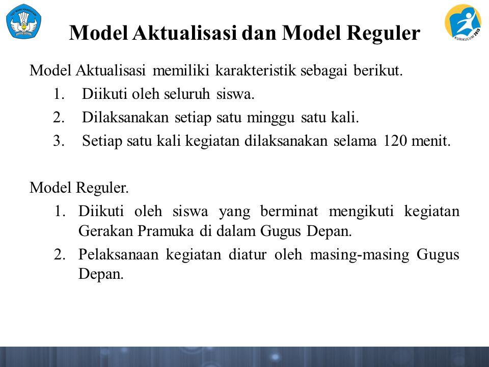 Model Aktualisasi dan Model Reguler Model Aktualisasi memiliki karakteristik sebagai berikut. 1.Diikuti oleh seluruh siswa. 2.Dilaksanakan setiap satu