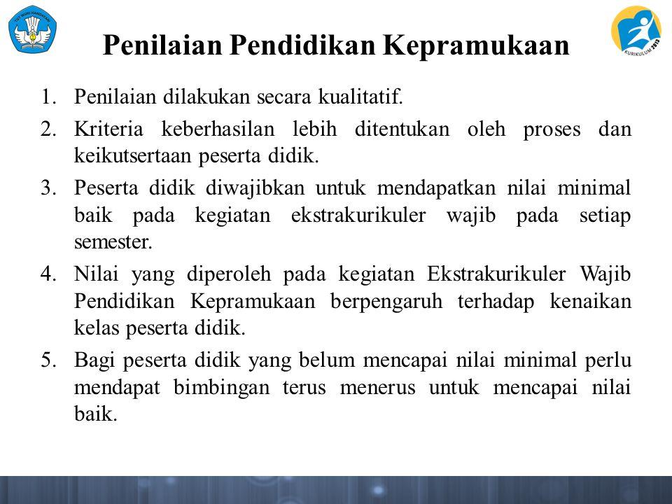 Proses Penilaian (Lanjutan) 4.Proses penilaian Keterampilan Kepramukaan disesuaikan dengan Kompetensi Dasar dari masing- masing Tema dan Matapelajaran sebagai penguatan yang bermuatan Nilai Sikap dan Keterampilan dalam Kurikulum 2013.