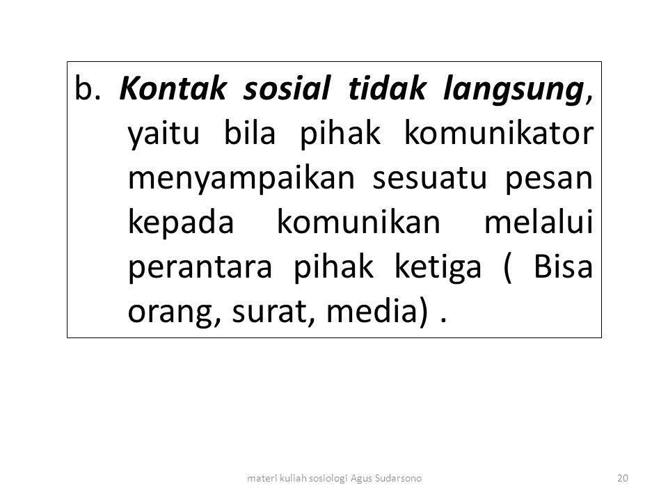 b. Kontak sosial tidak langsung, yaitu bila pihak komunikator menyampaikan sesuatu pesan kepada komunikan melalui perantara pihak ketiga ( Bisa orang,