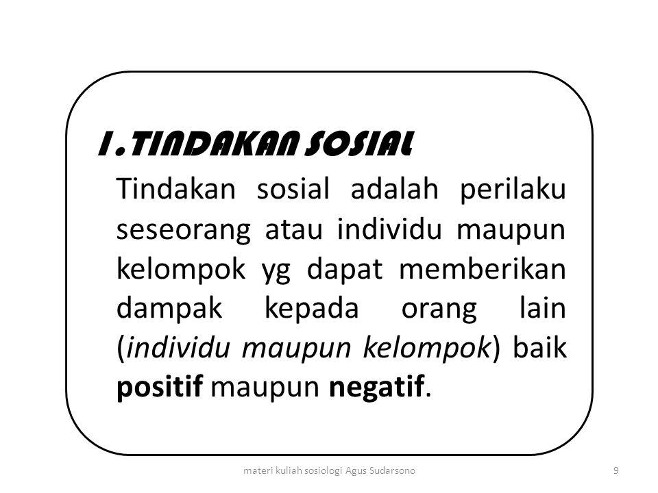 1.TINDAKAN SOSIAL Tindakan sosial adalah perilaku seseorang atau individu maupun kelompok yg dapat memberikan dampak kepada orang lain (individu maupu