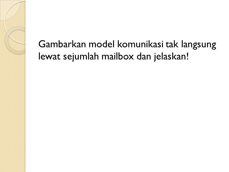 Gambarkan model komunikasi tak langsung lewat sejumlah mailbox dan jelaskan!