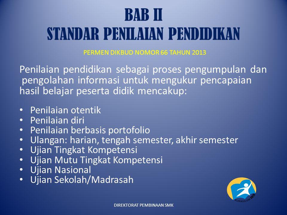BAB II STANDAR PENILAIAN PENDIDIKAN PERMEN DIKBUD NOMOR 66 TAHUN 2013 Penilaian pendidikan sebagai proses pengumpulan dan pengolahan informasi untuk m