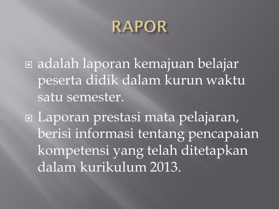  adalah laporan kemajuan belajar peserta didik dalam kurun waktu satu semester.