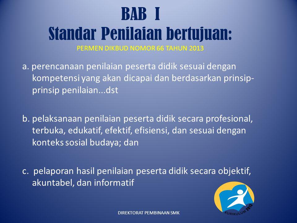 BAB I Standar Penilaian bertujuan: PERMEN DIKBUD NOMOR 66 TAHUN 2013 a. perencanaan penilaian peserta didik sesuai dengan kompetensi yang akan dicapai