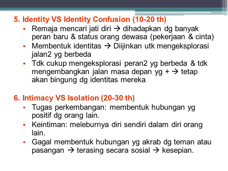 5.Identity VS Identity Confusion (10-20 th) Remaja mencari jati diri  dihadapkan dg banyak peran baru & status orang dewasa (pekerjaan & cinta) Membentuk identitas  Diijinkan utk mengeksplorasi jalan2 yg berbeda Tdk cukup mengeksplorasi peran2 yg berbeda & tdk mengembangkan jalan masa depan yg +  tetap akan bingung dg identitas mereka 6.Intimacy VS Isolation (20-30 th) Tugas perkembangan: membentuk hubungan yg positif dg orang lain.