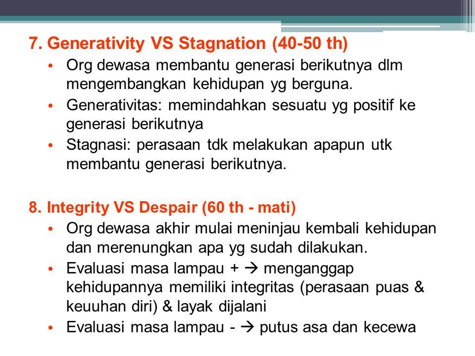 7.Generativity VS Stagnation (40-50 th) Org dewasa membantu generasi berikutnya dlm mengembangkan kehidupan yg berguna. Generativitas: memindahkan ses