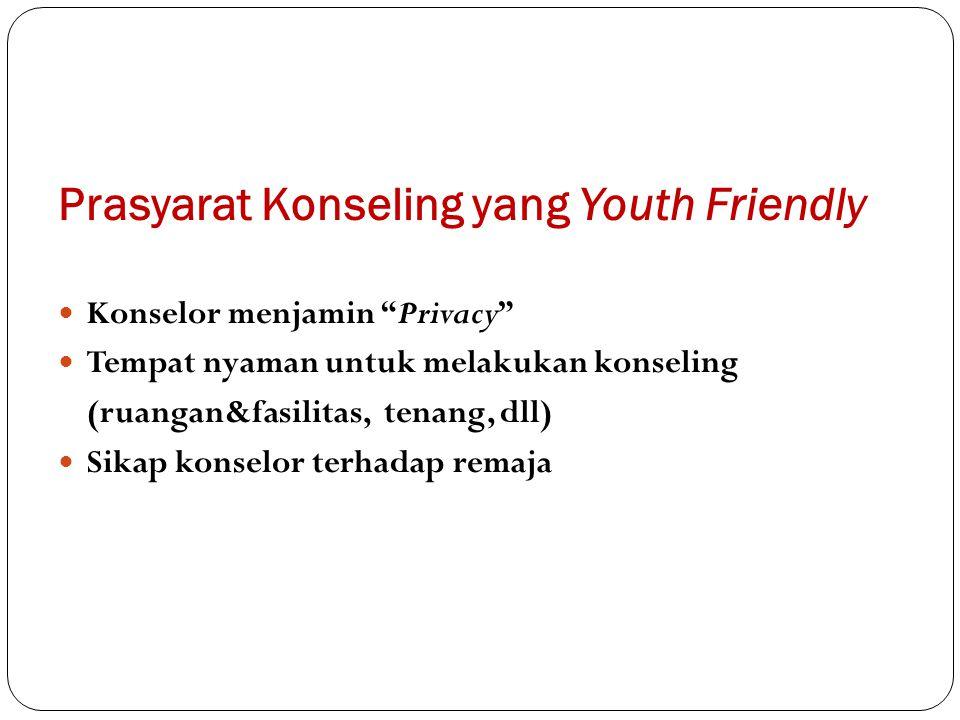Prasyarat Konseling yang Youth Friendly Konselor menjamin Privacy Tempat nyaman untuk melakukan konseling (ruangan&fasilitas, tenang, dll) Sikap konselor terhadap remaja