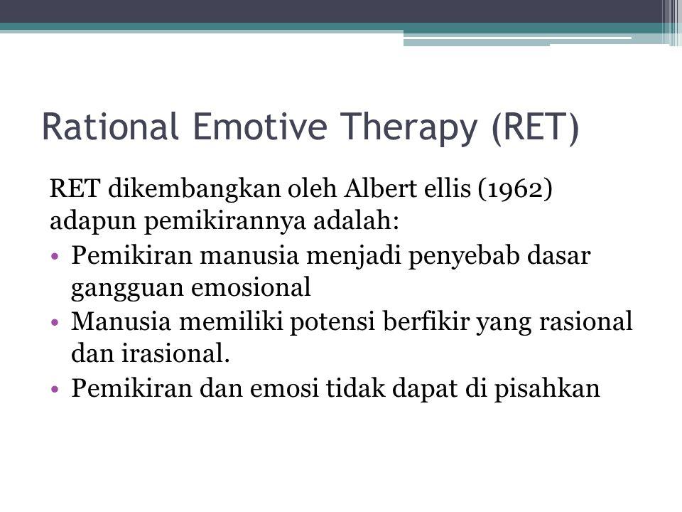 Rational Emotive Therapy (RET) RET dikembangkan oleh Albert ellis (1962) adapun pemikirannya adalah: Pemikiran manusia menjadi penyebab dasar gangguan emosional Manusia memiliki potensi berfikir yang rasional dan irasional.