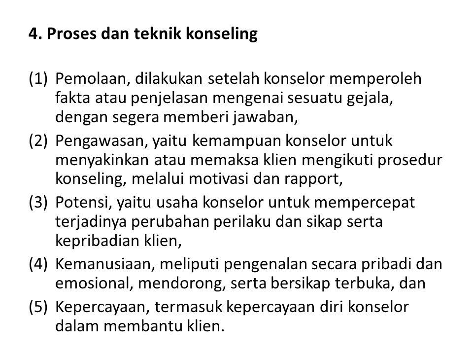 4. Proses dan teknik konseling (1)Pemolaan, dilakukan setelah konselor memperoleh fakta atau penjelasan mengenai sesuatu gejala, dengan segera memberi