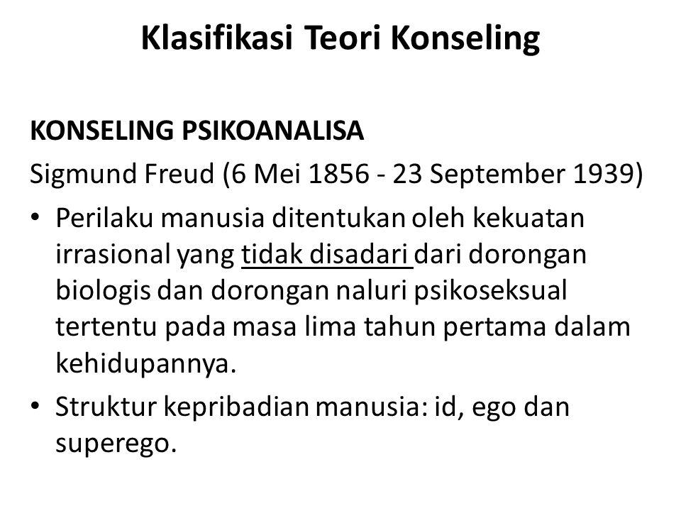 Klasifikasi Teori Konseling KONSELING PSIKOANALISA Sigmund Freud (6 Mei 1856 - 23 September 1939) Perilaku manusia ditentukan oleh kekuatan irrasional