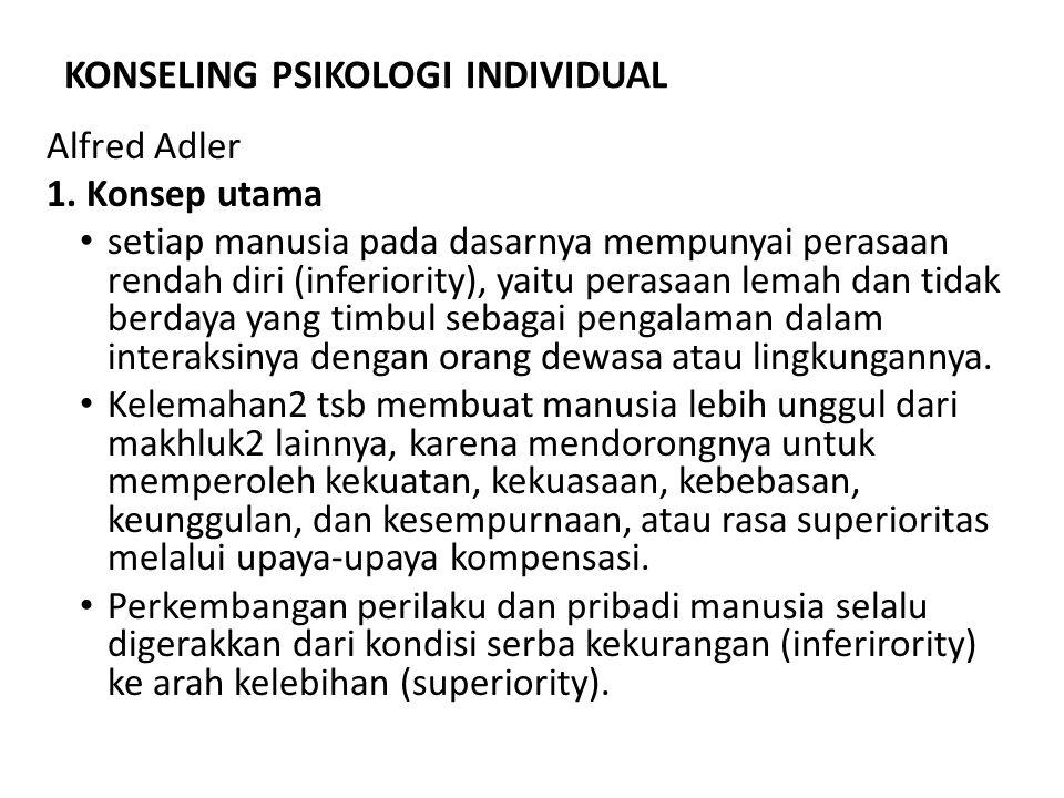 KONSELING PSIKOLOGI INDIVIDUAL Alfred Adler 1. Konsep utama setiap manusia pada dasarnya mempunyai perasaan rendah diri (inferiority), yaitu perasaan