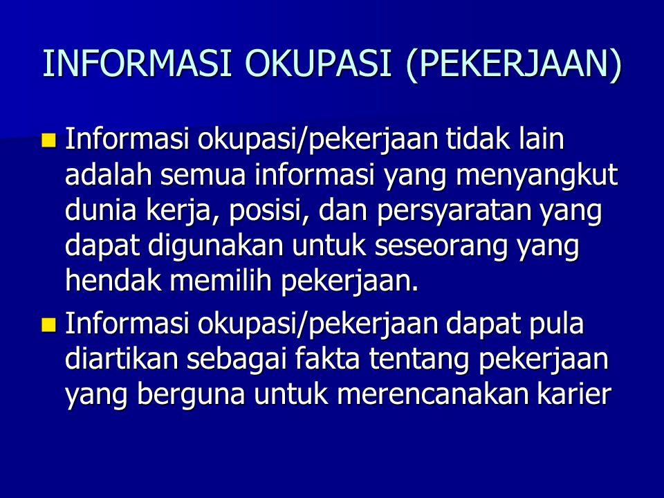 INFORMASI OKUPASI (PEKERJAAN) Informasi okupasi/pekerjaan tidak lain adalah semua informasi yang menyangkut dunia kerja, posisi, dan persyaratan yang