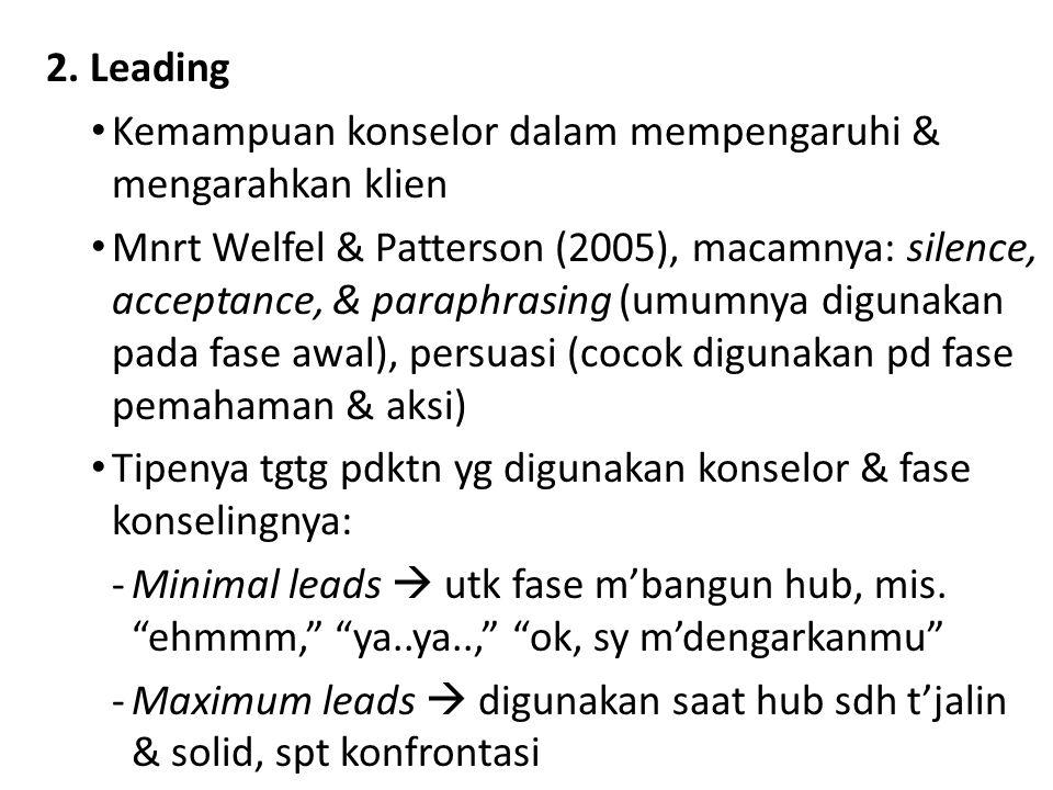 2. Leading Kemampuan konselor dalam mempengaruhi & mengarahkan klien Mnrt Welfel & Patterson (2005), macamnya: silence, acceptance, & paraphrasing (um