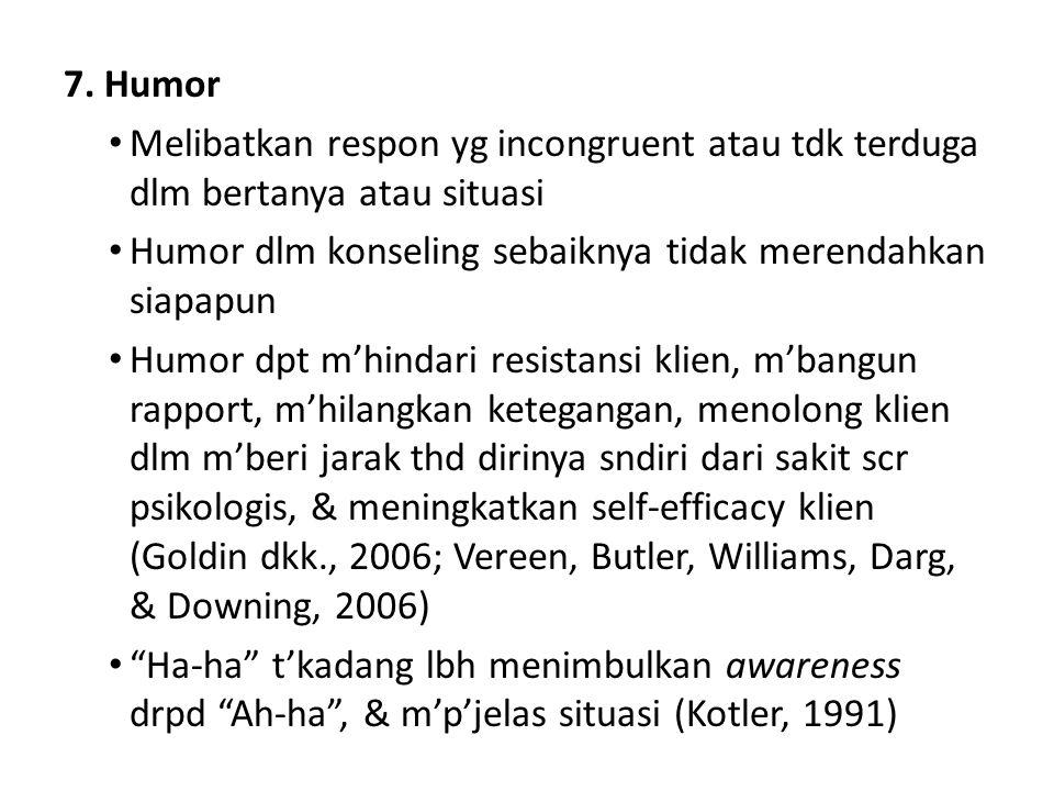 7. Humor Melibatkan respon yg incongruent atau tdk terduga dlm bertanya atau situasi Humor dlm konseling sebaiknya tidak merendahkan siapapun Humor dp