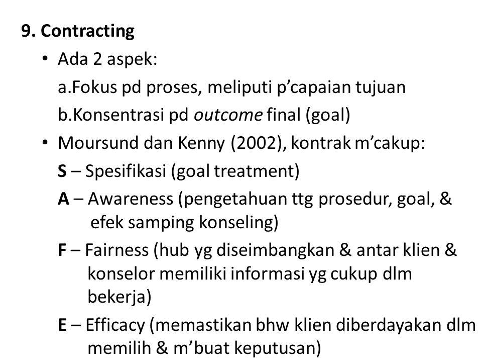 9. Contracting Ada 2 aspek: a.Fokus pd proses, meliputi p'capaian tujuan b.Konsentrasi pd outcome final (goal) Moursund dan Kenny (2002), kontrak m'ca