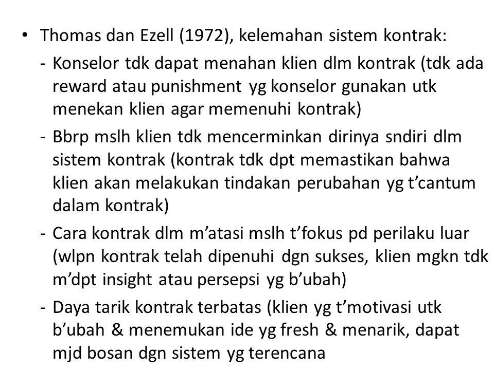 Thomas dan Ezell (1972), kelemahan sistem kontrak: -Konselor tdk dapat menahan klien dlm kontrak (tdk ada reward atau punishment yg konselor gunakan u