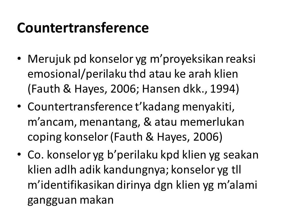 Countertransference Merujuk pd konselor yg m'proyeksikan reaksi emosional/perilaku thd atau ke arah klien (Fauth & Hayes, 2006; Hansen dkk., 1994) Cou
