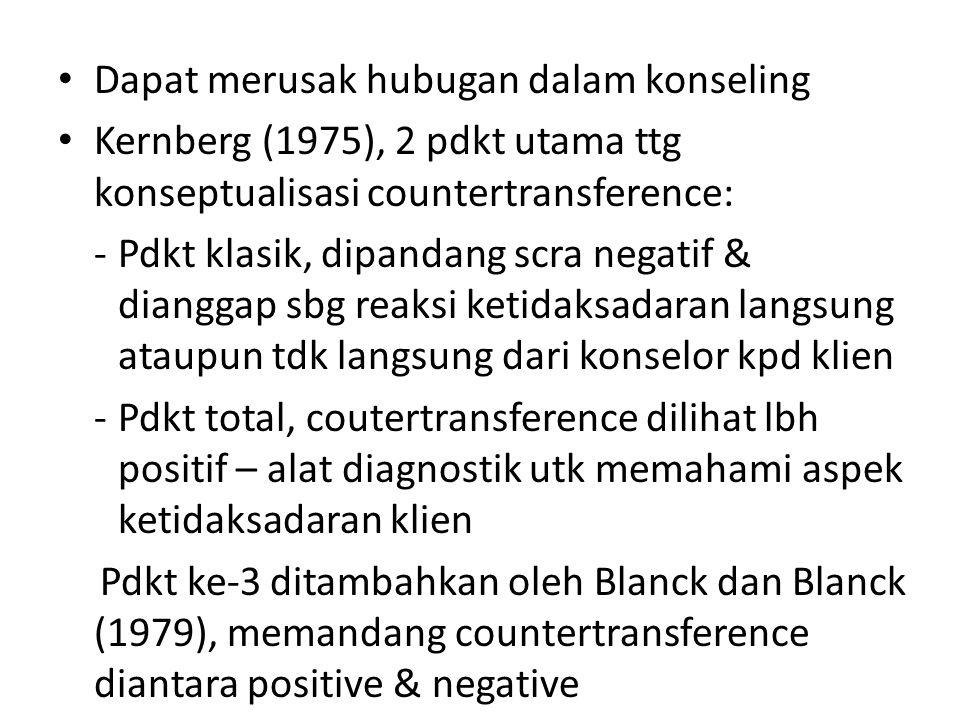 Dapat merusak hubugan dalam konseling Kernberg (1975), 2 pdkt utama ttg konseptualisasi countertransference: -Pdkt klasik, dipandang scra negatif & di
