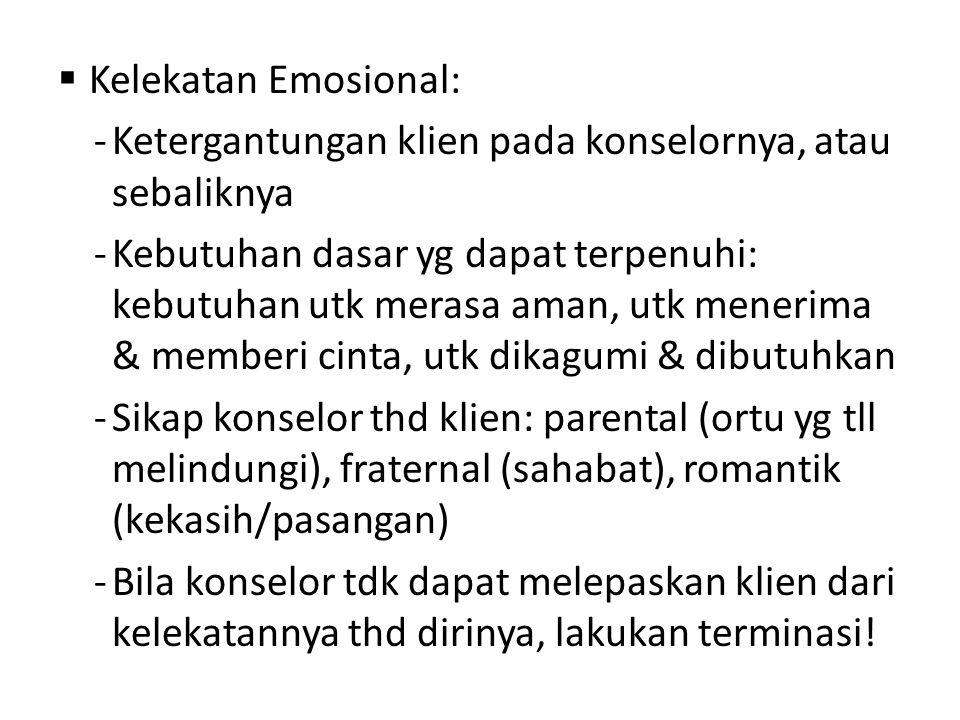  Kelekatan Emosional: -Ketergantungan klien pada konselornya, atau sebaliknya -Kebutuhan dasar yg dapat terpenuhi: kebutuhan utk merasa aman, utk men