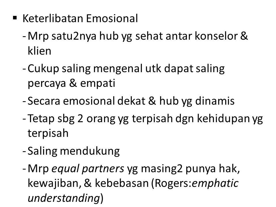  Keterlibatan Emosional -Mrp satu2nya hub yg sehat antar konselor & klien -Cukup saling mengenal utk dapat saling percaya & empati -Secara emosional