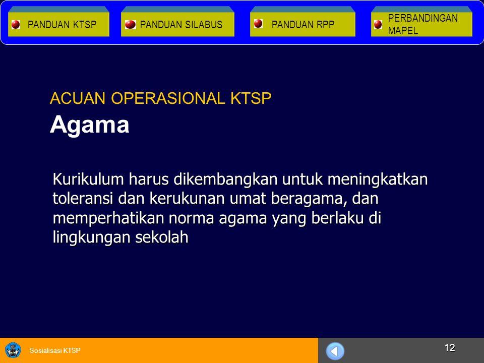 Sosialisasi KTSP 12 Kurikulum harus dikembangkan untuk meningkatkan toleransi dan kerukunan umat beragama, dan memperhatikan norma agama yang berlaku