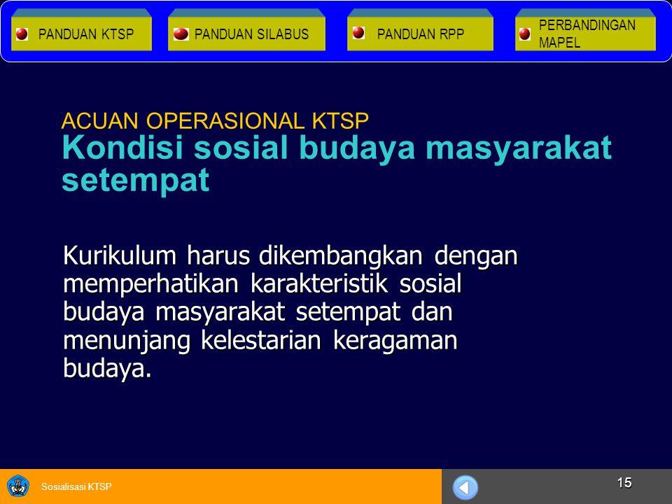 Sosialisasi KTSP 15 Kurikulum harus dikembangkan dengan memperhatikan karakteristik sosial budaya masyarakat setempat dan menunjang kelestarian keraga