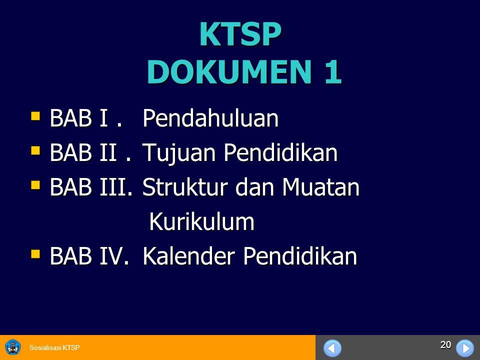 Sosialisasi KTSP 20 KTSP DOKUMEN 1  BAB I. Pendahuluan  BAB II. Tujuan Pendidikan  BAB III. Struktur dan Muatan Kurikulum Kurikulum  BAB IV. Kalen