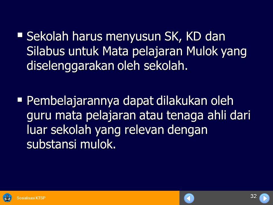 Sosialisasi KTSP 32  Sekolah harus menyusun SK, KD dan Silabus untuk Mata pelajaran Mulok yang diselenggarakan oleh sekolah.  Pembelajarannya dapat